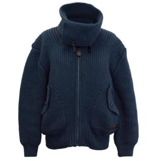 Burberry Brit Heavy Weight Blue Chunky Knit Bomber
