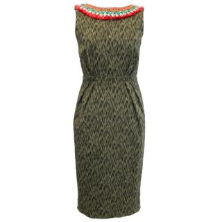 Matthew Williamson Green Dress With Shell Embellished Neckline