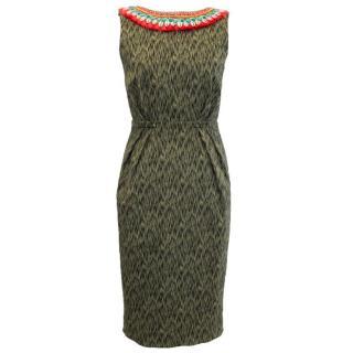 Matthew Williamson Green Dress With Shell Embellished Neckline