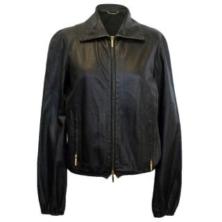 Gucci Black Leather Lightweight Bomber