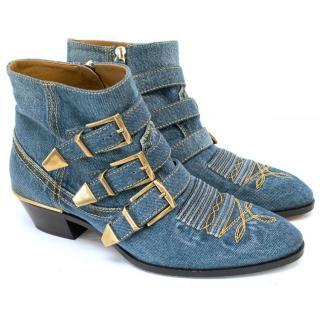 Chloe Susanna Denim Ankle Boots