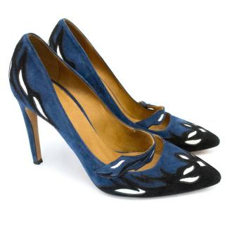 Isabel Marant Blue Suede Kylie Pointed Court Shoe