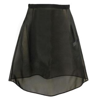 Dolce & Gabbana Black Mesh Skirt Structured Skirt