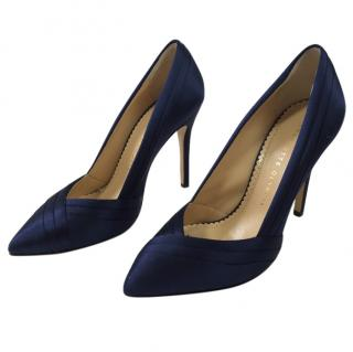 Charlotte Olympia Navy Satin Pumps