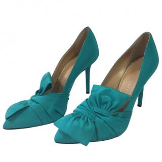 Charlotte Olympia Women's Blue Silk And Leather Lynn Court Shoes With