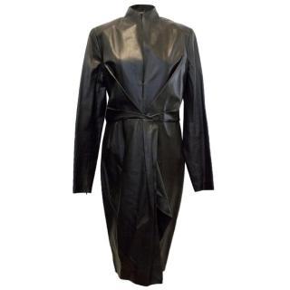 Salvatore Ferragamo Long Line Leather Jacket Dress