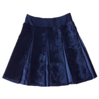 Goat fur box pleated skirt