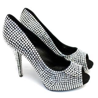 Dolce & Gabbana Crystal Embellished Peep Toe Pumps