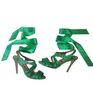 Green satin sandal Oscar de la Renta