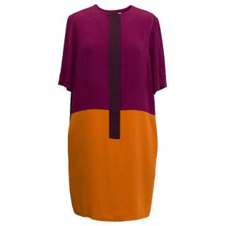 Victoria Victoria Beckham Purple Colour Block Dress