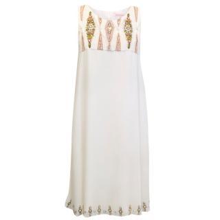 Matthew Williamson Embellished Cream Silk Dress