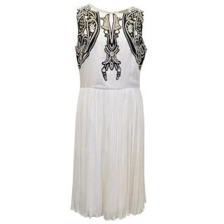 Reynu Tandon Mynah White Dress With Black Pattern