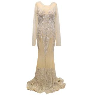 Charbel Zoe Nude Maxi Dress with Crystal Embellishments
