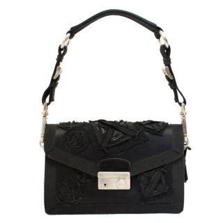 Prada Black Satin Evening Bag with Beading