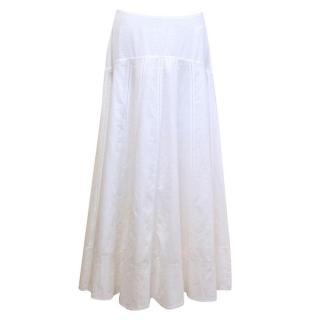 Bamford White Cotton Midi Skirt