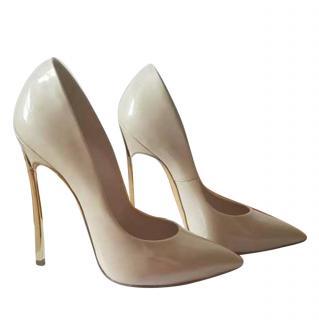 Casadei nude blade heels