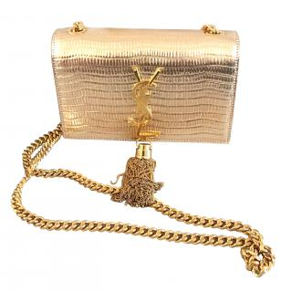 Saint Laurent gold snake skin Cassandre clutch bag with chain