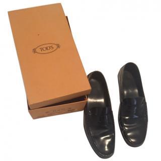 Tod's Black Leather Loafers Hardly Worn Size UK 9