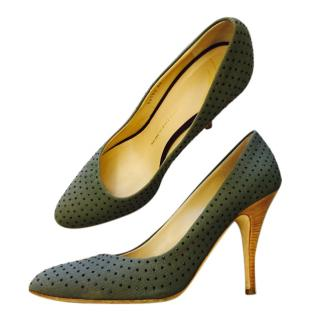 Giuseppe Zanotti military green pumps with crystal beads