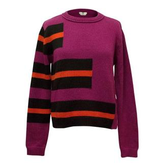 Fendi Pink Cashmere Jumper with Stripes
