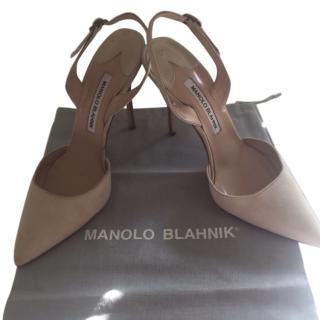 Manolo Blahnik nude suede slingback shoes