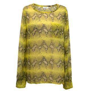 Equipment Femme Yellow Snakeskin silk blouse