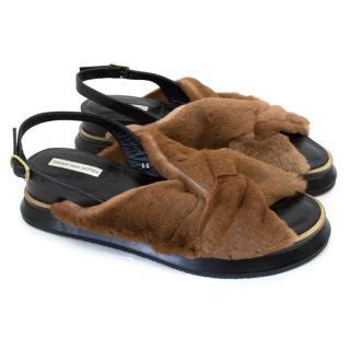 Dries Van Noten Brown Fur Criss Cross Sandals