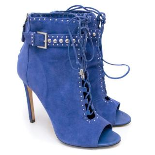 Brian Atwood Lamotte Blue Suede Ankle Boots