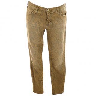 Current Elliott brown khaki snakeskin print denim jeans