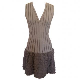 ALAIA Grey Drop Waist Frilled Dress