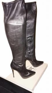 Burberry Prorsum Knee High Heel Black Leather Boots