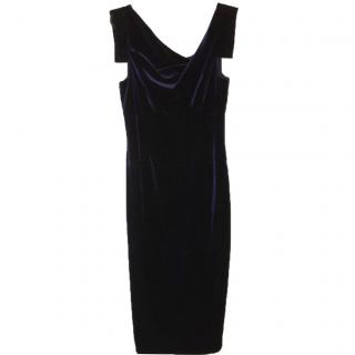 Black Halo Velvet Royal Blue Dress