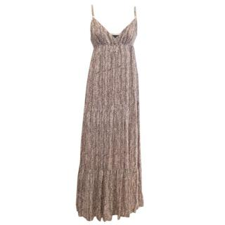 Armani Exchange Pink & Brown Patterned Maxi Dress