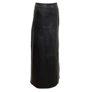 BCBG Max Azria Black Leather Maxi Skirt
