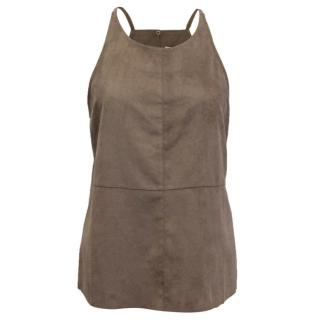 Halston Brown Suede Cami Top