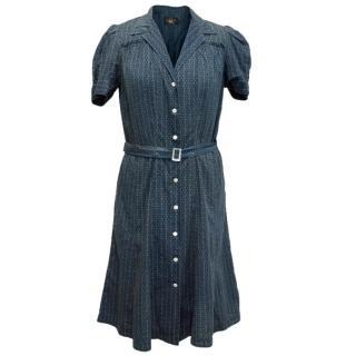 Ralph Lauren Blue Pattern Dress with Belt