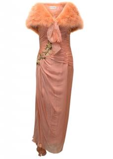 Bellville Sassoon Lorcan Mullany Coral Gown with Feather Stole