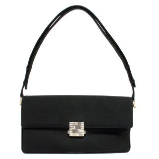 Fendi Black Evening Bag with Crystal Clasp