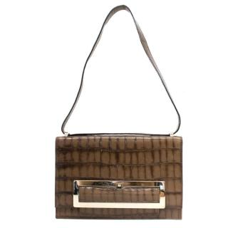 Escada Brown Mock Croc Shoulder Bag with Gold Buckle