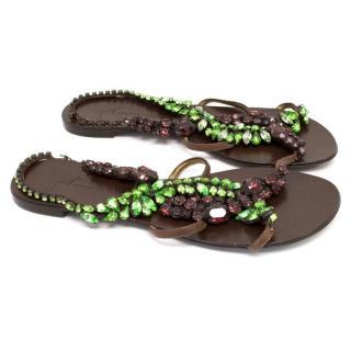 Giuseppe Zanotti Crystal Embellished Flat Sandals