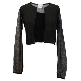Amanda Wakeley Black Cropped Cardigan with Mesh Detail