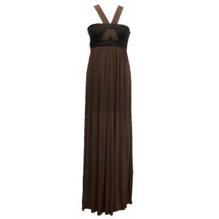 Amanda Wakeley Brown Maxi Dress with Black Bandage Dress