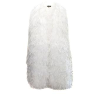 Tadashi Shoji White Ruffle Sleeveless Coat