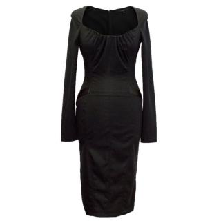 Gucci Black Long Sleeve Dress with Sweetheart Neckline