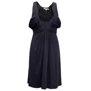 Vanessa Bruno Navy Dress with Black Frill