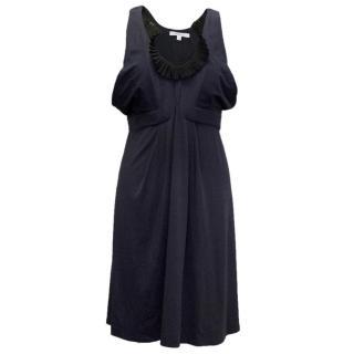 Vanessa Bruno Navy Dress with Black Frill