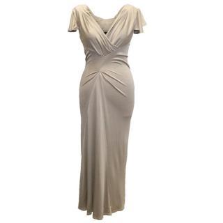 Amanda Wakeley Beigie V Neck Dress with Sleeves