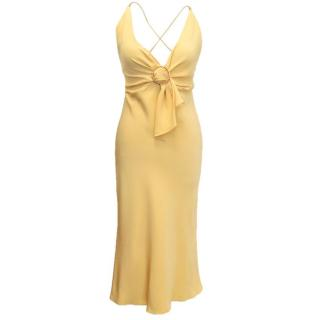 Prada Yellow Silk Dress with Criss Cross Straps