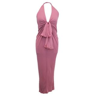 Emanuel Ungaro Pink Halterneck Dress with Bow