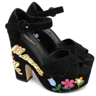 Dolce & Gabbana Embellished Black Suede Platforms